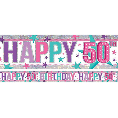 Pink Holographic Foil Party Banner