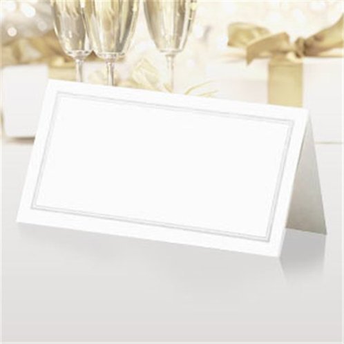 White And Silver Folded Table Place Cards
