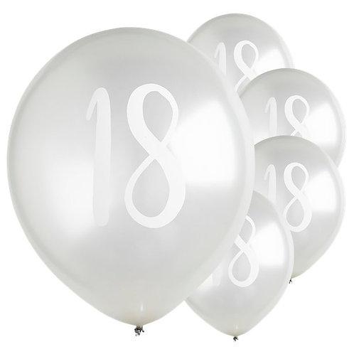 18th Birthday Silver Latex Balloons