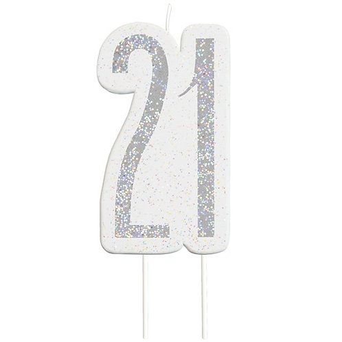 21st Birthday Silver Glitter Cake Candle