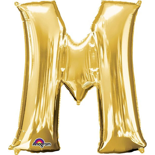 "Giant Foil Helium Letter M Balloons Size 34"" Gold"