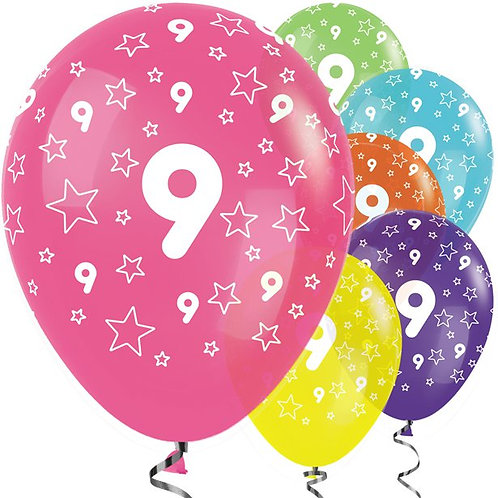 9th Birthday Mix Stars Balloons