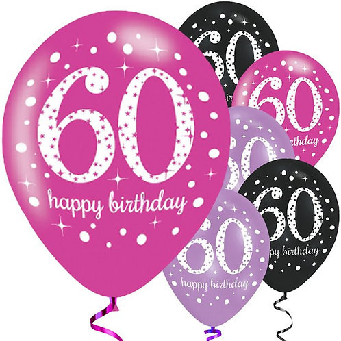 60th Pink Mix Latex Party Balloons