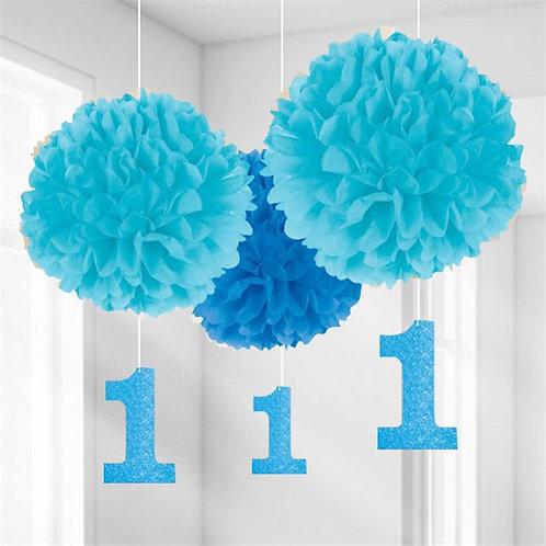 1st Birthday Pom Pom Decorations Blue