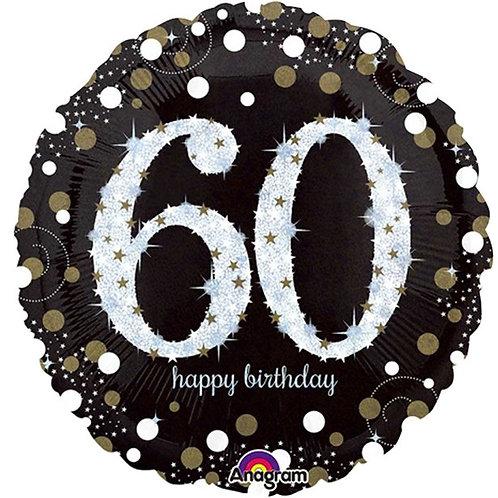 60th Sparkling Celebration Foil Balloon Gold & Silver