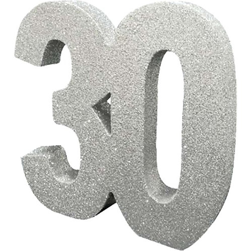 30th Birthday Table Centrepiece Number Silver