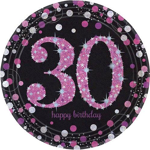 30th Birthday Pink Celebration Party Plates