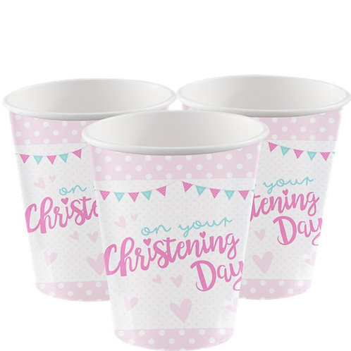 Christening Day Pink Paper Cups