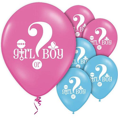 Gender Reveal Pink & Blue Latex Balloons