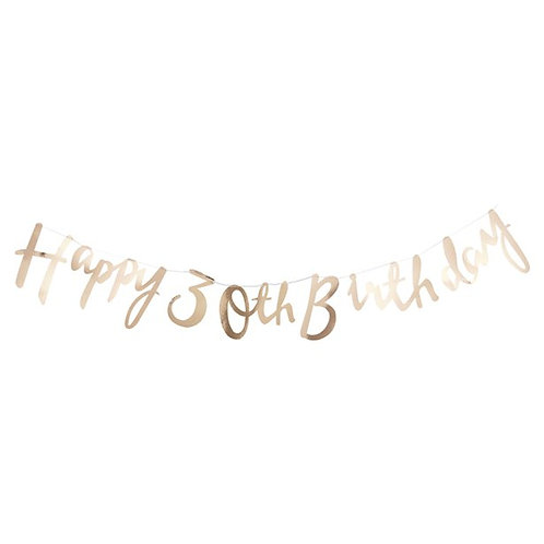 30th Happy Birthday Gold Letter Bunting. Size 1.5m