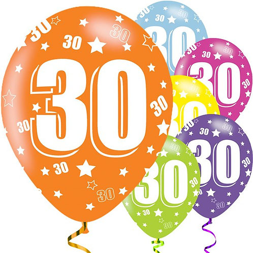 30th Birthday Assorted Latex Balloons