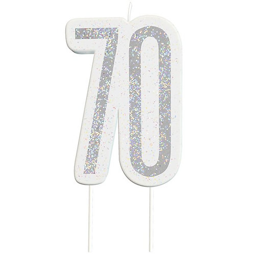 70th Birthday Silver Glitter Cake Candle