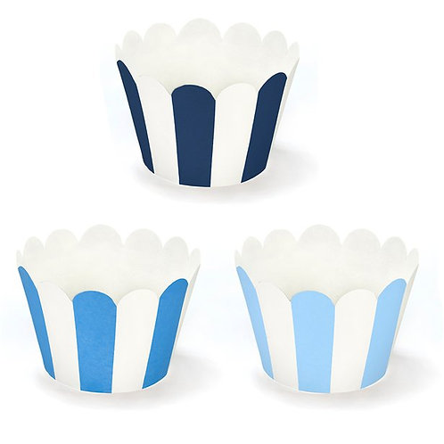 Blue Stripe Cupcake Wrappers