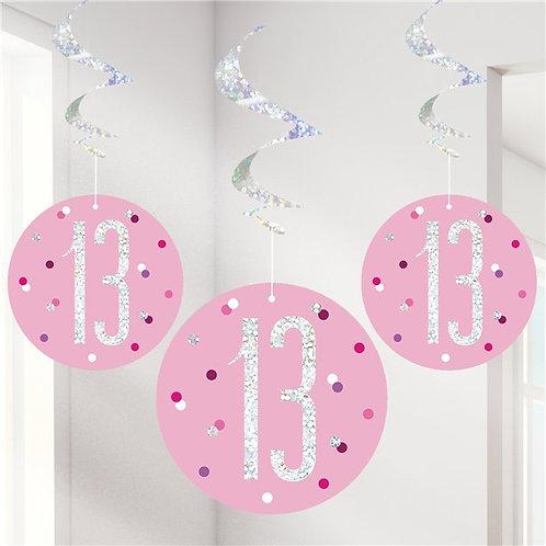 13th Birthday Hanging Swirls Pink