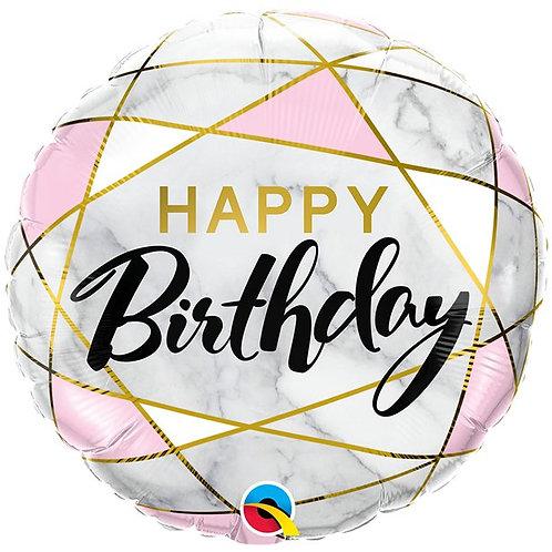 Happy Birthday Marble Foil Balloon