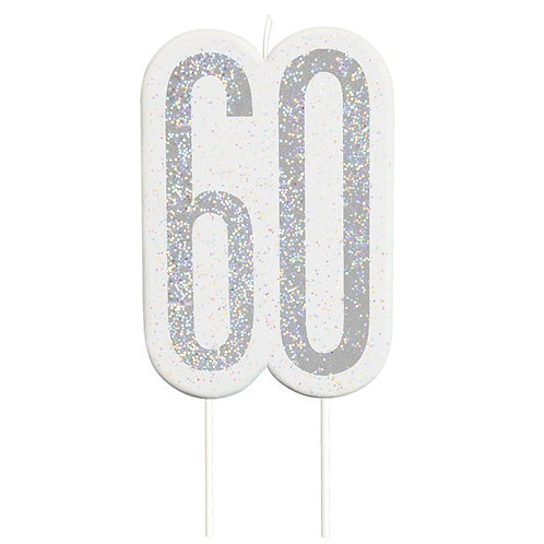 60th Birthday Silver Glitter Cake Candle