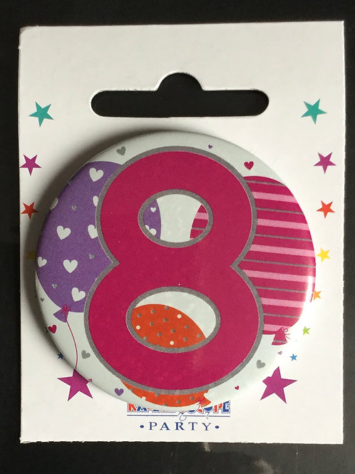8th Pink Birthday Badge