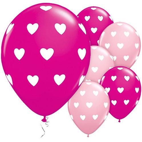 Heart Mixed Pink Balloons