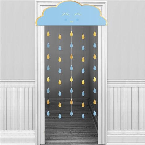Blue Cloud Door Curtain