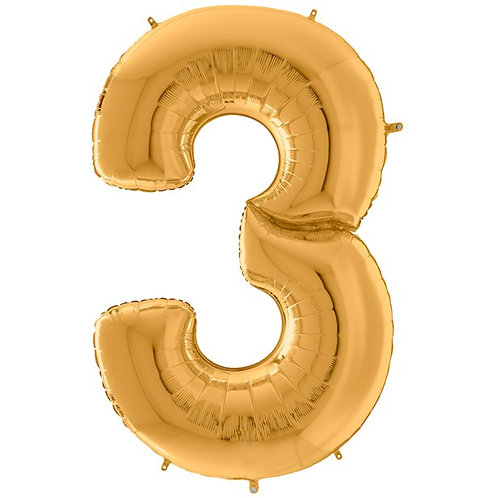 Number 3 Gold Foil Balloon-64""