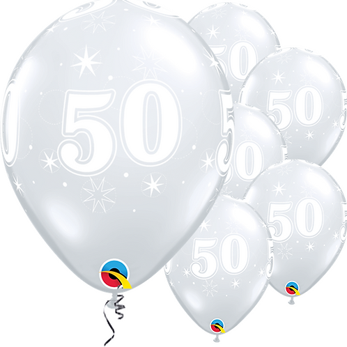 """50th Birthday Sparkle-A-Round Diamond Clear Balloons. Size 11"""". Pack Of 25."""