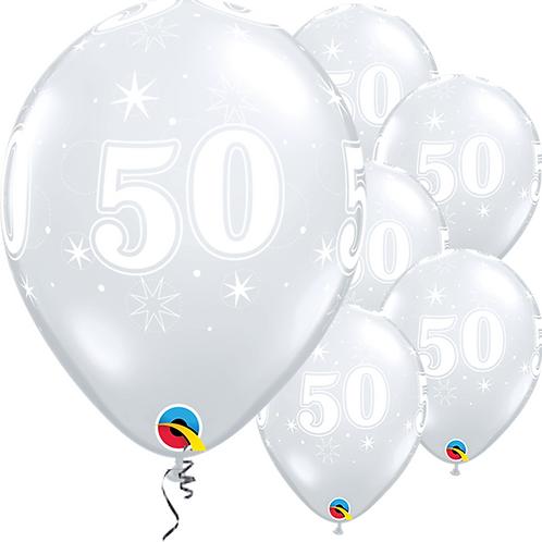 50th Birthday Sparkle-A-Round Diamond Clear Balloons