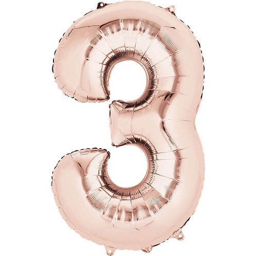 Rose Gold Air Fill Number 3 Foil Balloon