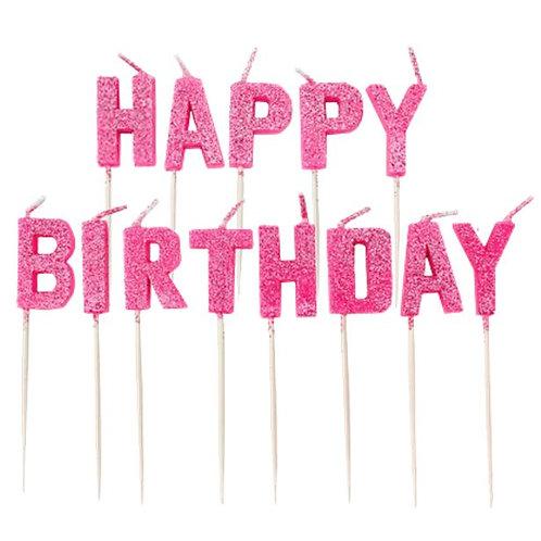 Happy Birthday Pink Glitter Cake Pick Candles
