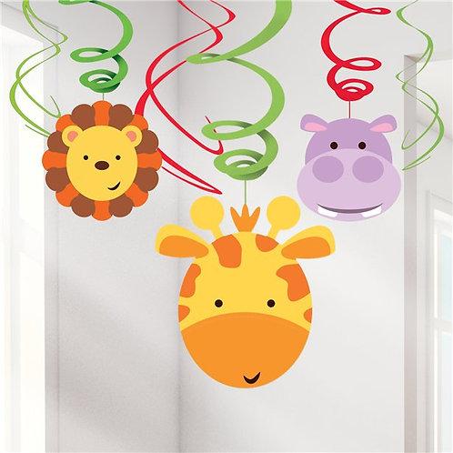 Animal Friends Hanging Swirl Decorations