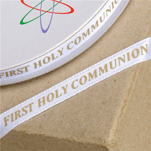 First Holy Communion White & Gold Ribbon