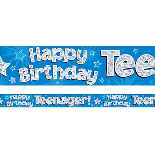 Happy Birthday Teenager Blue Foil Banner