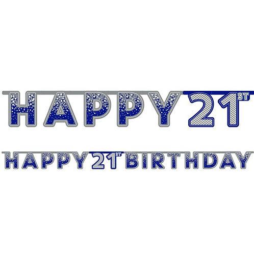 21st Happy Birthday Letter Banner Blue