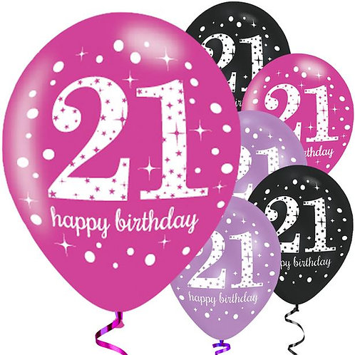 Happy 21st Pink Mix Birthday Balloons