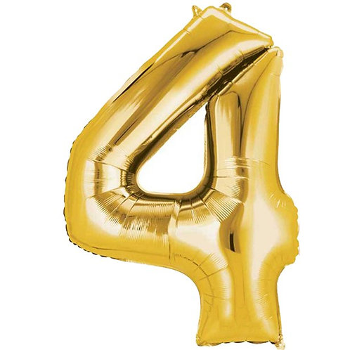 Gold Air Fill Number 4 Foil Balloon