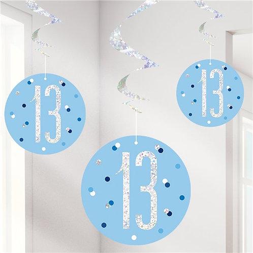 13th Birthday Hanging Swirls Blue