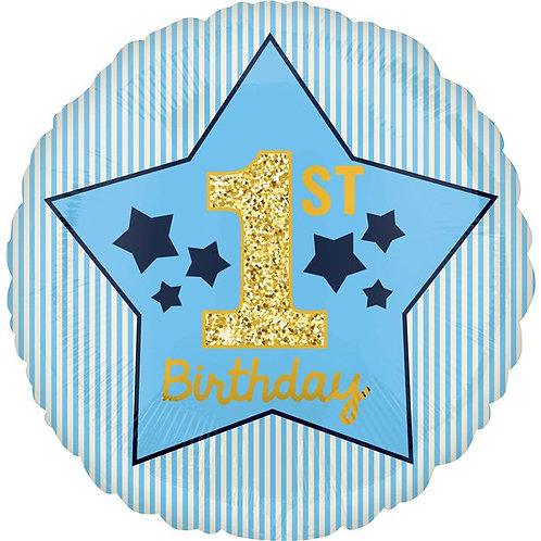 1st Birthday Blue And Gold Foil Balloon