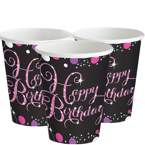 Happy Birthday Pink Paper Cups.
