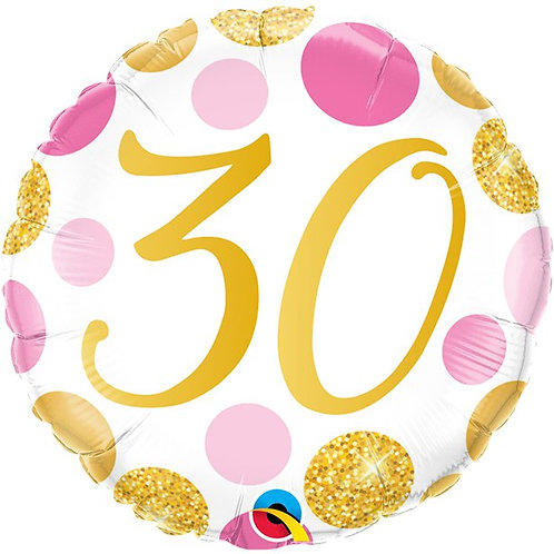 30th Pink And Gold Dots Foil Balloon