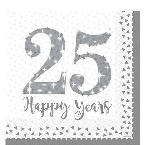 25th Silver Sparkling Wedding Anniversary Napkins