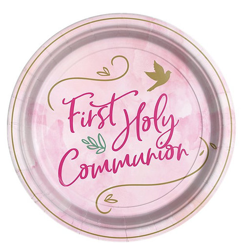 First Holy Communion Paper Plates Pink