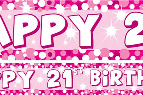 21st Pink Paper Banners