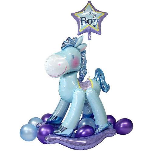 Baby Boy Blue Rocking Horse Balloon