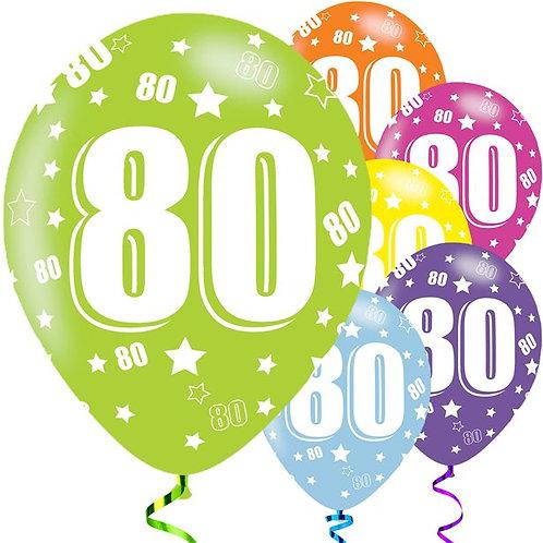 80th Birthday Assorted Latex Balloons