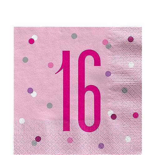 16th Birthday Pink Glitz Napkins