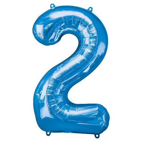 Blue Number 2 Air Fill Foil Balloons