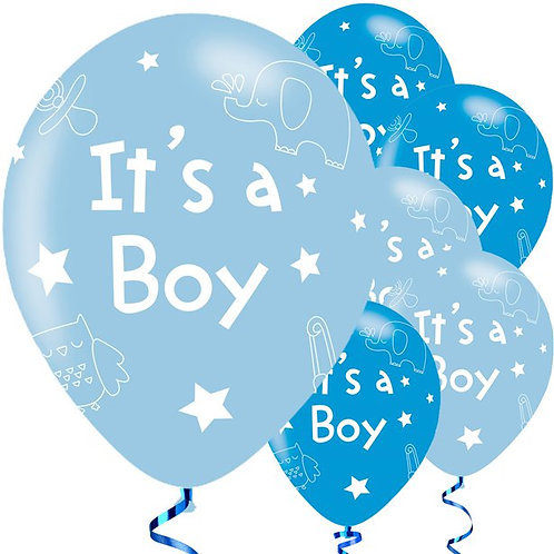 Blue Gender Reveal Latex Balloons