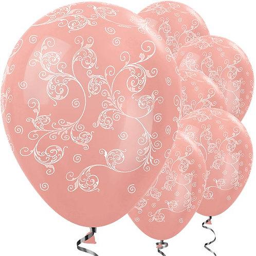 Rose Gold Filigree Latex Balloons
