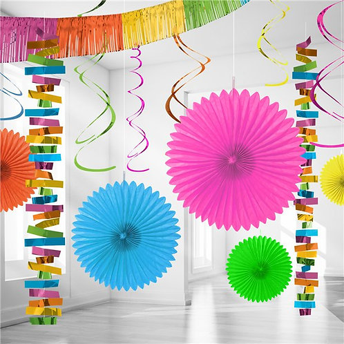 Multi Coloured Paper & Foil Room Party Decorating Kit
