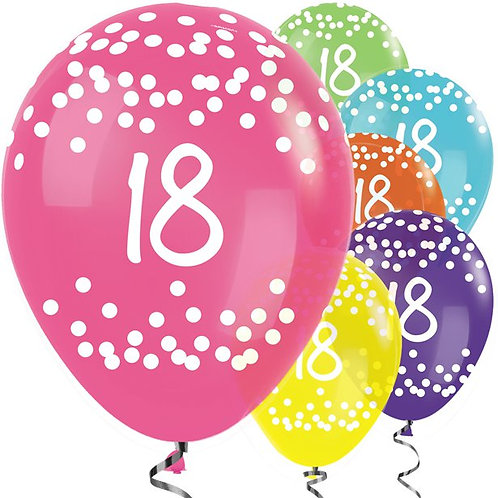 18th Birthday Multicoloured Latex Balloons