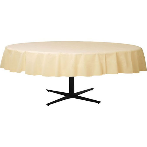Ivory Round Plastic Tablecover